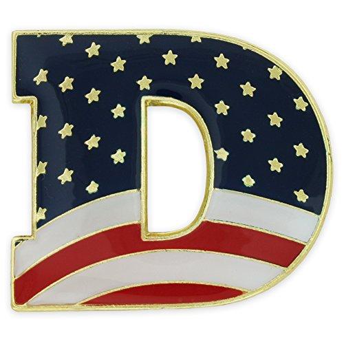 PinMart American Flag Democratic Party D Patriotic Enamel Lapel Pin