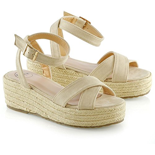 Shoes Size Womens 8 Espadrilles ESSEX Cross Platform GLAM Strap 3 Sandals Ladies Beige Wedge Heel gx1wU4