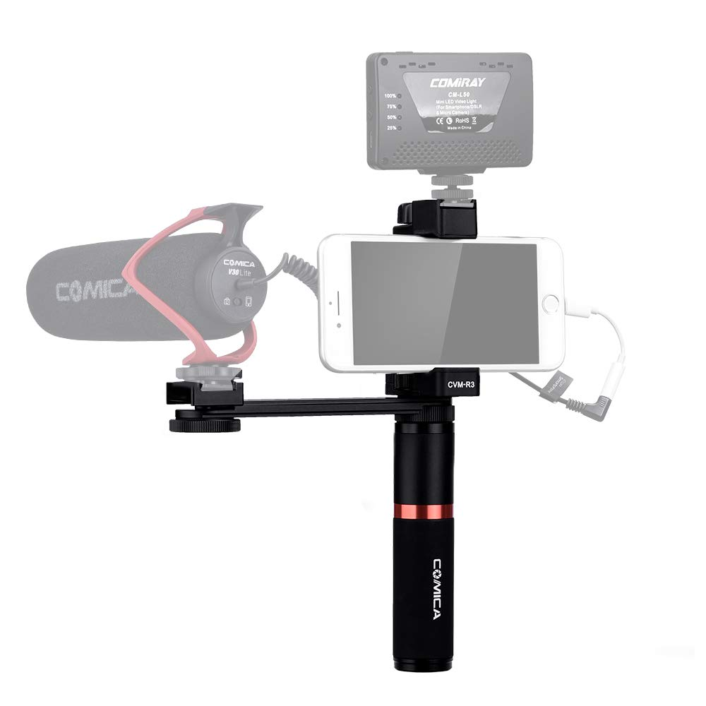 Comica CVM-R3 Smartphone video grip,1/4 External Port for Lights/Microphones, Full Metal Video Rig with Cold Shoe Plate and Width Adjustable Phone Clamp for IPhoneXs/XS Max/XR/X/8/7/6/Plus,Huawei etc. by comica