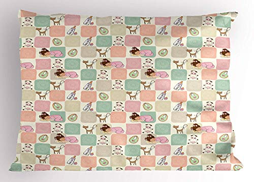 (XGUPKL Baby Pillow Sham, Square Checkered Pattern Cat Cow Sleeping Girl Ornamental Milk Bottle Valentine's Love, Decorative Standard Queen Size Printed Pillowcase, 30 X 20 inches, Multicolor)