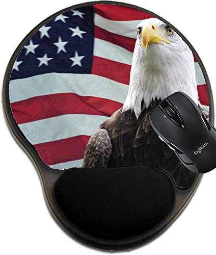 MSD Natural Rubber Mousepad Wrist Protected Mouse Pads/Mat with Wrist Support Design: 4691001 Majestic Bald Eagle in Front of USA Flag ()