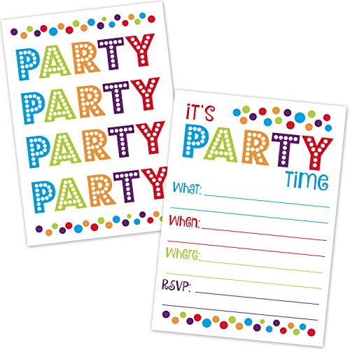 Polka Dots Birthday Party Invitations - All Occasion Birthday Party Invitations with Envelopes - Colorful Confetti Polka Dots Party Design - Kids or Adults Birthday, Surprise Party, Baby Shower, Retirement Party (20 Count with Envelopes)
