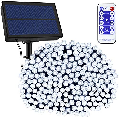 NSEN Solar String Lights, Upgraded 72ft 200 LED 8 Modes Outdoor String Lights with Remote, IP65 Waterproof Solar Fairy Lights Christmas Lights for Wedding Patio Garden Yard Decorations Cool White