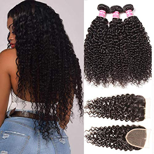 Sunber Kinkys Curly Human Hair 3 Bundles with Closure Free Part Brazilian Virgin Hair Weave Human Hair Bundles 4x4 Lace Closure 100% Human Hair Natural Black Color (20 22 24+16free Part Lace Closure)