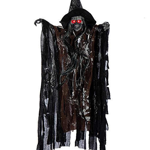 25In Halloween Ghost Decorations Animated Hanging Props Grim Reaper Skull with Sound and Glowing Red Eye Halloween Props (Coffee, 1 Pack)