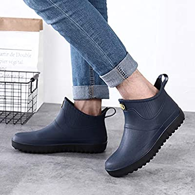 Sunhusing Platform Rain Shoes Men's Casual Outdoor Waterproof Short Boots Ankle Rain Boots Slip On Water Shoes: Clothing