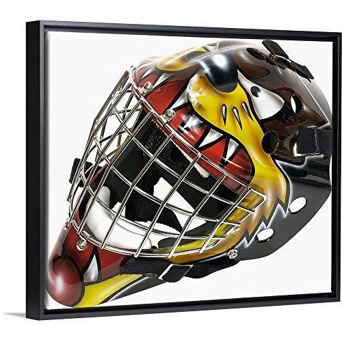 Floating Frame Premium Canvas with Black Frame Wall Art Print Entitled Hockey Goalie mask 24