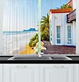 moroccan themed bedroom Ambesonne Ocean Kitchen Curtains, Coastal Charm Themed Beach House Porch View Moroccan Style Architecture Island Artsy Print, Window Drapes 2 Panel Set for Kitchen Cafe, 55 W X 39 L Inches, Multicolor