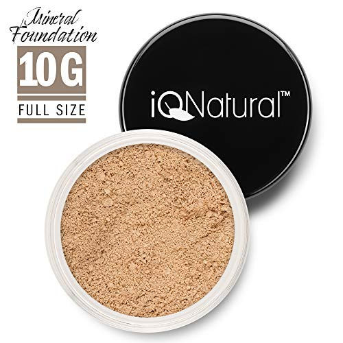 iQ Natural Mineral Foundation Loose Powder 10g Sifter Jar, Long Lasting All-Day Wear, Flawless Finish Makeup, Full Coverage - Matte | Sensitive Skin Approved | Color FAIR II