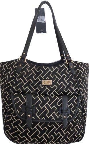 Tommy Hilfiger Tote Shopper Bag Buckle Canvas Black Large, Bags Central