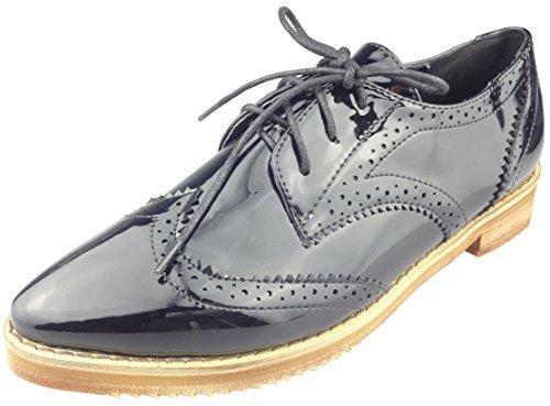 Showhow Womens Trendy Bout Pointu À Lacets Bas Haut Chaussures Brogue Empilées Bas Talon Oxfords Noir
