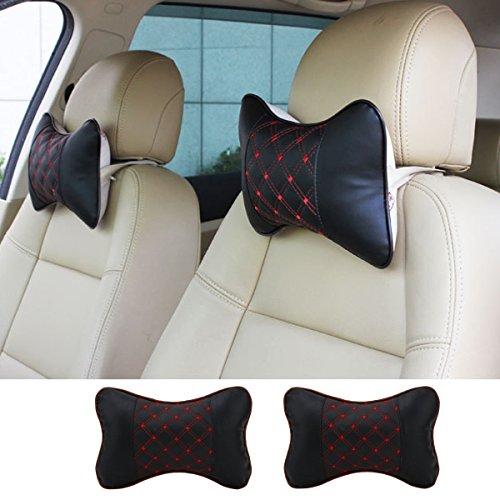 Price comparison product image Besplore Automotive Car Interior Leather Car Headrest Neck Pillow for Car Train Plane Office Chair Neck Support Travel Pillow (2 Pcs)