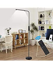 Ganeed LED Floor Lamp,Touch Standing Lamps with 5 Brightness Levels & 5 Colors Temperatures,10W Dimmable LED Floor Light with Flexible Gooseneck for Reading Living Room Bedroom Office,Black