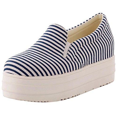 COOLCEPT Damen Freizeit Loafers Pumps Hidden Heel Blue