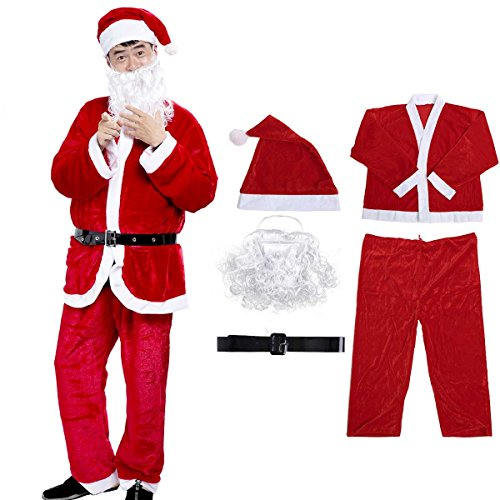 Fat Man Costume For Sale (Christmas Santa Claus Costume Set Men Santa Costume Boy's Deluxe Santa Suits Red)