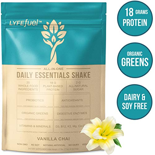 LYFE FUEL Meal Replacement Shake | Keto, Vegan & Gluten Free Plant Based Protein + Organic Superfood Greens | Vanilla Chai | 18g Rice + Pea Protein | 24 Meals (Difference Between Pea Protein And Whey Protein)