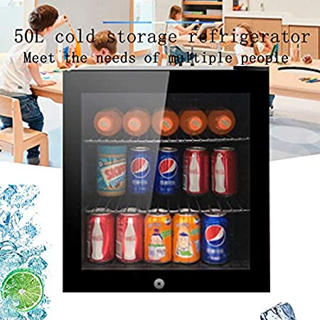 BLLXMX Vinoteca Refrigerada, Capacidad De 50l, Insertos De 3 Estantes, Puerta De Vidrio con Doble Aislamiento, 5-14 Grados