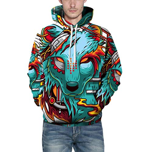 Mens Sweatshirt,Realdo Fashion Casual Autumn Winter 3D Print Comfy Caps Skin Hoodie Tops Blouse(Small/Medium,Wolf) ()