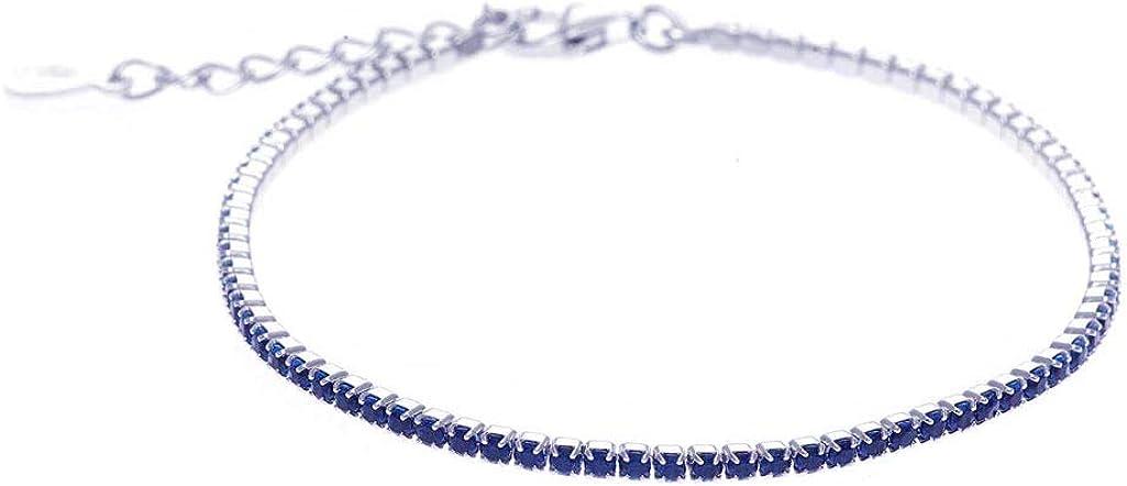 Salvatore Pulsera Plata Riviere con Circonitas Azules