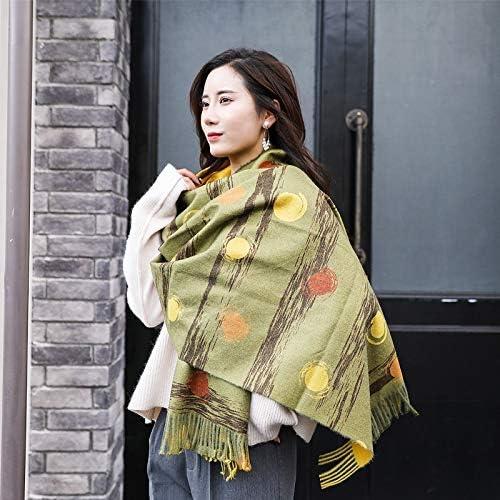 AODEK Men And Women Long Scarf Digital Print Thickening Imitation Cashmere Korean Tassel Shawl