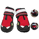 Waterproof Dog Shoes Dog Boots Outdoor Dog Sneakers Dog Paw Protectors,Reflective Hawkeyes and Paw Embroidery,Double Reflective Velcro,Adjustable Straps,Rugged Anti-Slip Sole,4PCS by UonlyU (4, Red)