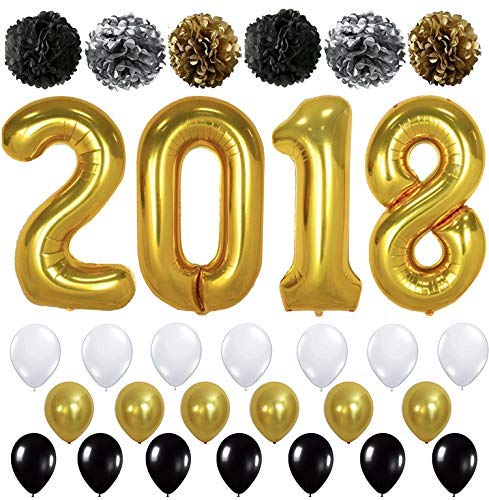 KATCHON Giant Gold 2018 Balloons with Pom Poms - New Years Eve Party Supplies and Graduation Decorations - New Year Eve Decorations - Gold Black Silver PomPoms and Gold Black and White Balloons -