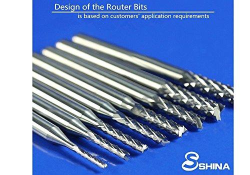 10x 3.175mm Carbide End Mill Engraving Bits CNC PCB Machinery 0.6-1.5mm Cutting