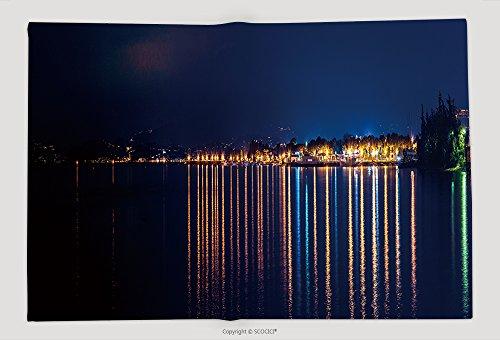 Supersoft Fleece Throw Blanket Night Panorama On The Garda Lake Peschiera (Garda Halloween)