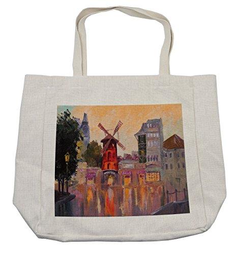 Lunarable European Shopping Bag, Painting of Moulin Rouge in Paris City Centre of Love Vintage France Art Print, Eco-Friendly Reusable Bag for Groceries Beach Travel School & More, (Moulin Rouge Paris Costumes)