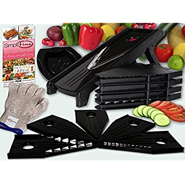 SimpliFine Mandoline Slicer and Chopper with FREE Cut Resistant Gloves. Best for Making Quick and Healthy Salads - Fruit and Vegetable Cutter – Professional Mandolin Slicer and Glove Bundle - Makes A Great Gift