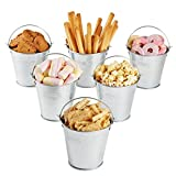 NUOLUX Mini Tinplate Metal Bucket Icing French Fries Tin Pails - 6 Pieces