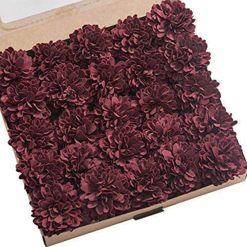 Ling's moment 25pcs Real-Looking Artificial Flowers Burgundy Fake Dahlia Daisy Flower with Stem for Wedding Bridal Shower Bride's Bouquet Arrangement Decorations