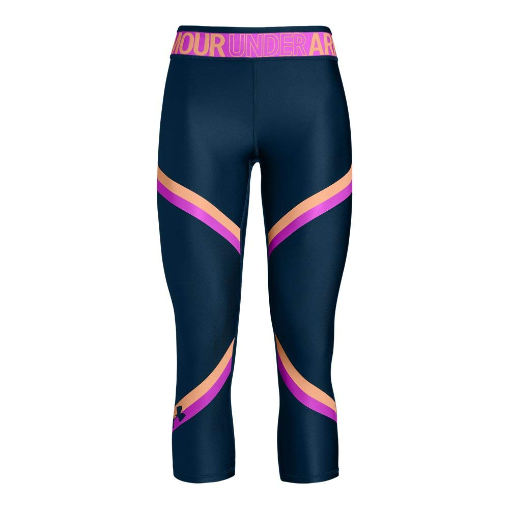 Under Armour HeatGear Armour Graphic Ankle Crop Youth X-Large Techno Teal by Under Armour