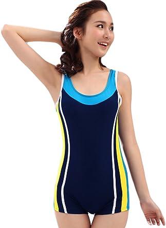 56319c410e Shineflow Women's One Piece Swimsuit Sports Swimsuit Boyleg Boy Short  Swimming Costume (S, Navy