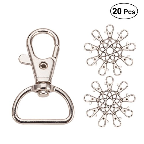 FENICAL 20 Packs Pet Tag Quick Clips Portable Plating Nickel-Free Metal Rope Tag Clip for DIY