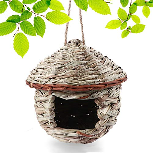 Tenforie Bird House for Outside, Resting Place for Birds, Hanging Natural Grass Bird Nest, Hummingbird House Handcrafted Hut (House)