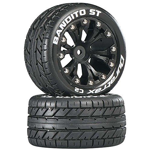 "Duratrax DTXC3542 Bandito RC Staduim Truck Tires with Foam Inserts, C2 Soft Compound, ST 2.8"" Mounted on Back Black Wheels (2 Tires)"