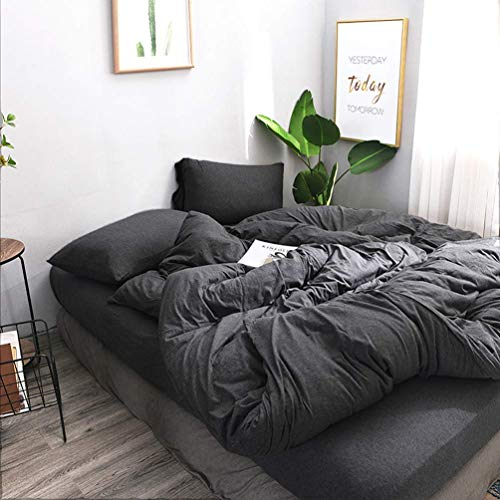FOSSA Jersey Knit 3 Pieces Duvet Cover Set King T-Shirt Heathered Cotton Super Soft Comfortable (Charcoal, King) (King Duvet Size Cover Charcoal)