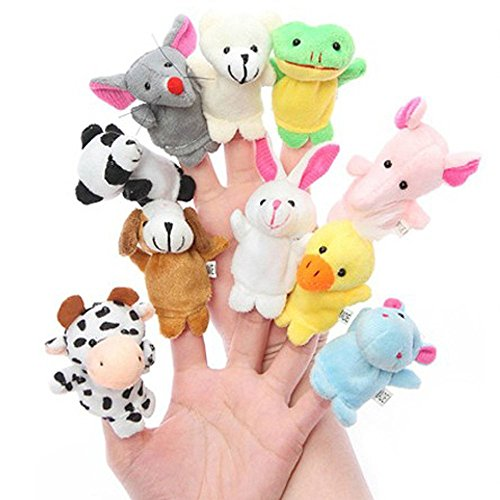 Zap Impex® Cute Animal Style Finger Puppets for Children, Shows, Playtime, Schools – 10 Animals Set