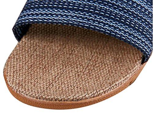 Nanxson (tm) Mujeres Para Hombre Home Wear Verano Antideslizante Linen Slipper Tx0026 Navy