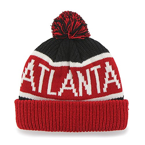Atlanta Hawks Red Cuff ''Calgary'' Beanie Hat with Pom - NBA Cuffed Winter Knit Toque Cap