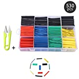 Shrink Tube 530pcs Bchoice Tube Ratio 2:1 Wire Shrink Wrap Tubing Assortment Electronic Polyolefin Cable Sleeve Kit with Box + Free Scissors