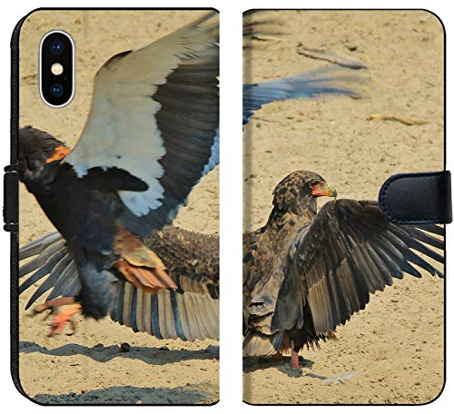 (Luxlady iPhone X Flip Fabric Wallet Case Image ID: 22291381 Bateleur Eagle Wild Bird Background from Africa Flight of The Eagle)