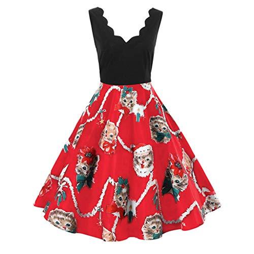 QBQCBB Women Christmas Cats Print Skirt Sleeveless V-Neck Vintage Flare Swing Dress(Red,M) -