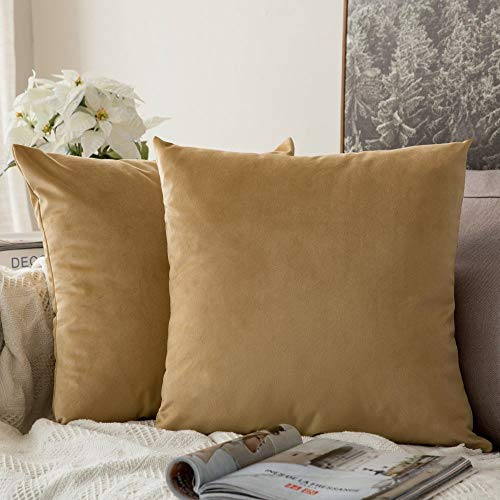 MIULEE Pack of 2 Velvet Pillow Covers Decorative Square Pillowcase Soft Solid Cushion Case for Sofa Bedroom Car 24 x 24 Inch 60 x 60 cm Khaki