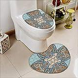 L-QN Soft Toilet Mat 2 Pieces Set Collection Arabian Style Geometric Pattern Islamic Persian Art Elements Baroque Touch Art Machine-Washable
