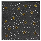 Cocktail Napkins - 50-Pack Luncheon Napkins, Disposable Paper Napkins Party Supplies for Birthday, Starry Night with Gold Foil Stars Design, Unfolded 10 x 10 Inches, Folded 5 x 5 Inches