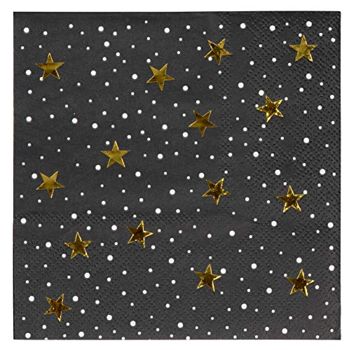 Cocktail Napkins - 50-Pack Luncheon Napkins, Disposable Paper Napkins Party Supplies for Birthday, Starry Night with Gold Foil Stars Design, Unfolded 10 x 10 Inches, Folded 5 x 5 Inches -