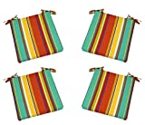 "Set of 4 - Indoor / Outdoor Red - Coral, Yellow, Turquoise, Red, Blue, Green Bright / Colorful Stripe Universal 3"" Thick Foam Seat Cushions with Ties for Dining Patio Chairs - Choose Size (20'' x 20'')"