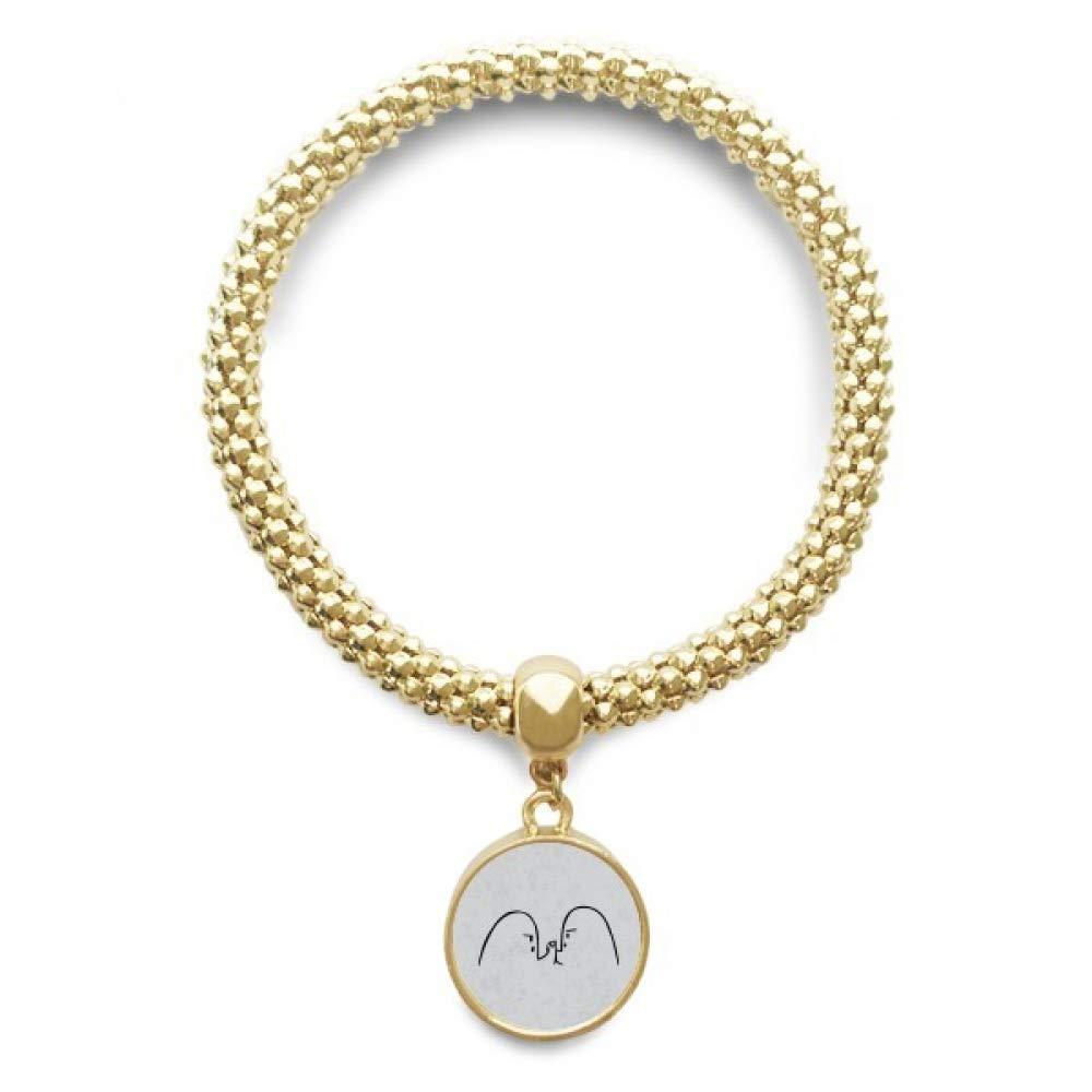 DIYthinker Wrist Wrestling Black Cute Chat Emoji Golden Bracelet Round Pendant Jewelry Chain by DIYthinker